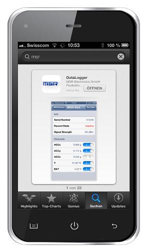 Die DataLogger-App verbindet den Datenlogger via Bluetooth Low Energy mit dem Smartphone
